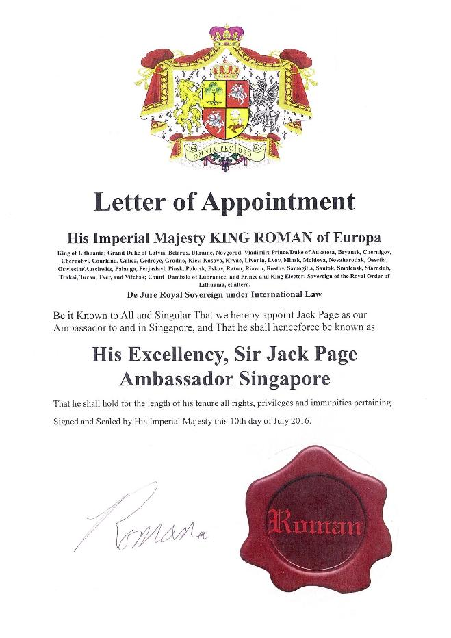 Sample Letter of Diplomatic Appointment