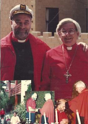 Bishop Roman with Archbishop Clay, The Castle, Hobart Tasmania