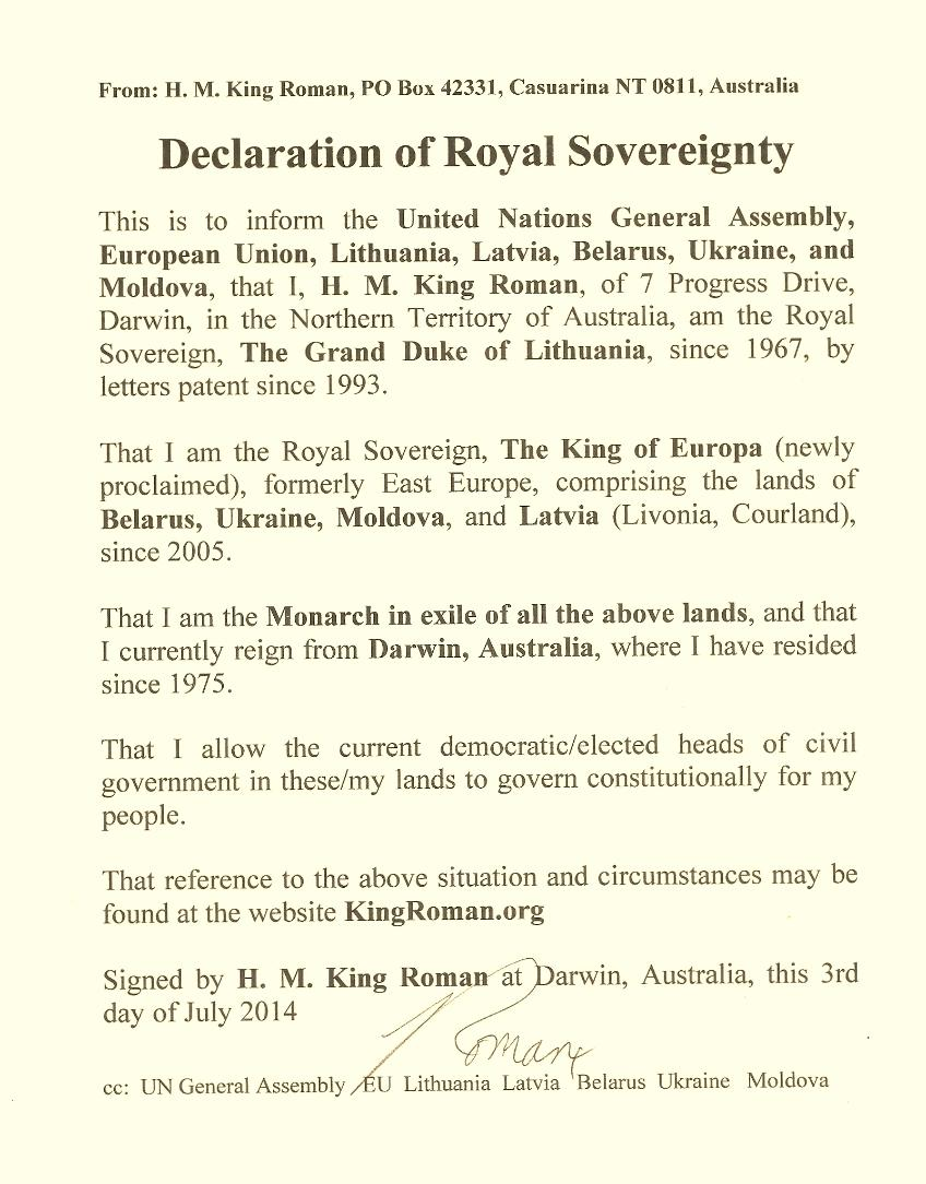 Declaration to UN of Royal Sovereignty