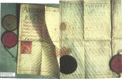 King Augustus 3 of Poland letter to Kazimierz Dambski of Lubraniec 1843