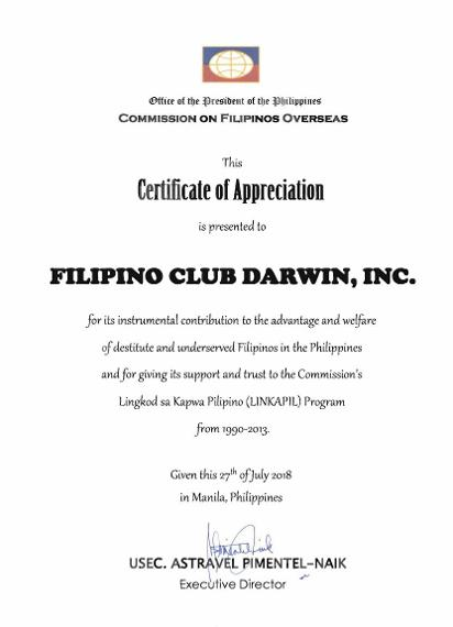 Certificate of Appreciation of FCD