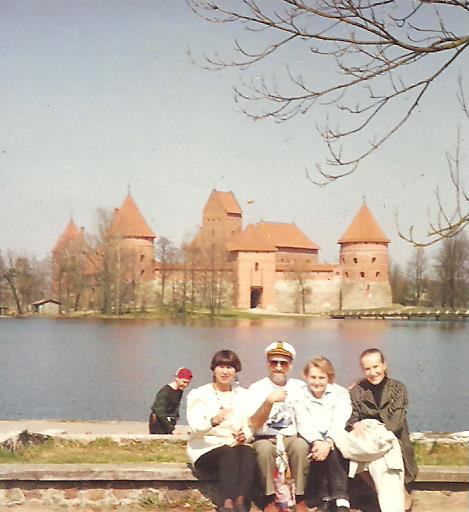 king roman of lithuania in front of trakai castle vilnius